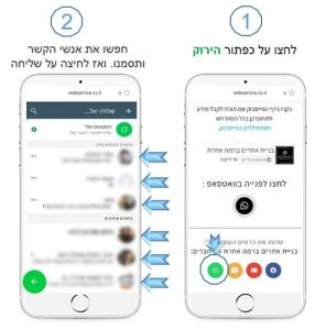 מסך שמתאר איך לשתף כרטיס ביקור דיגיטלי בwhatsapp שלב א