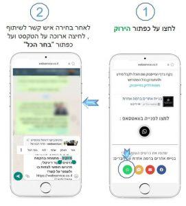 כיצד משתמשים בתגובות מהירות לצורך שליחת כרטיס הביקור באפליקציית WhatsApp Business שלב א